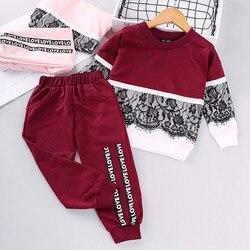 Crianças da criança do bebê meninas roupas de manga longa rendas pulôver moletom carta imprimir calças conjunto criança menina roupas 3 4 5 6 7 anos