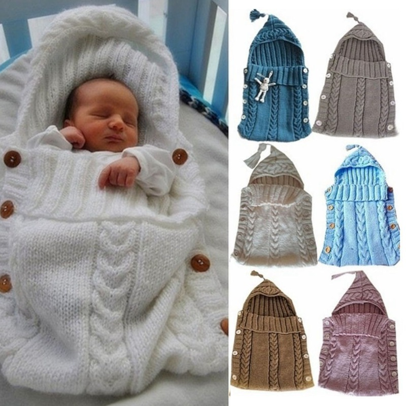 Newborn Baby Knitting Wool Crochet Sleeping Bag Button Swaddle Wrap Swaddling Blanket With Hat Soft Warm Accessories