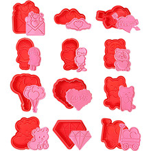 12 шт ко Дню Святого Валентина набор резаков для печенья Пластик 3D Lover роза цветок Весна бисквит Фондант набор из быстрорежущей инструментал...