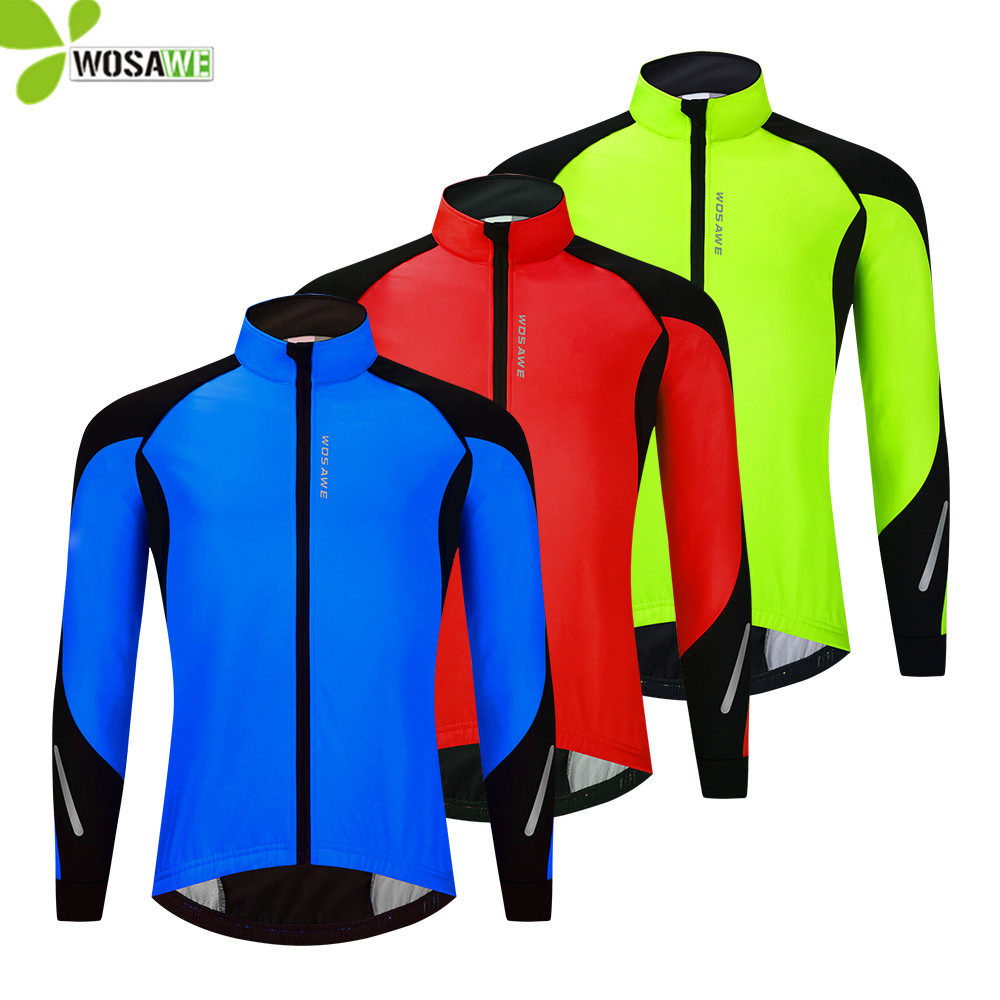 WOSAWE Winter Running Jacket Thermal Fleece Warm Up Windproof Water Rain Repellent Cycling Mountain Bike Windbreaker Sports Coat
