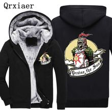 Men Jacket Coat Print Dark Souls Praise the Sun Hip Hop Sweatshirt Zipper Cashmere Cotton Fleece thick Hoodie Winter M-4XL