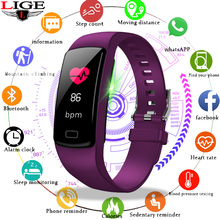 LIGE smart watch Sports Bracelet women men heart rate blood pressure Bracelet Calories pedometer fitness for Android IOS phone недорого