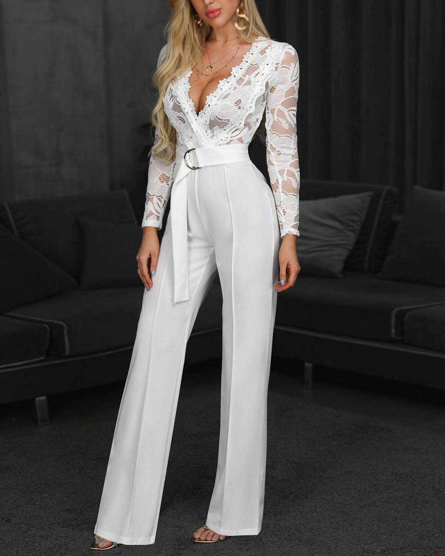 Overalls For Women Elegant White Jump Suit Plus Size Long Sleeve Rompers Womens Jumpsuit Lace Sexy Clothes Pants Combinaison