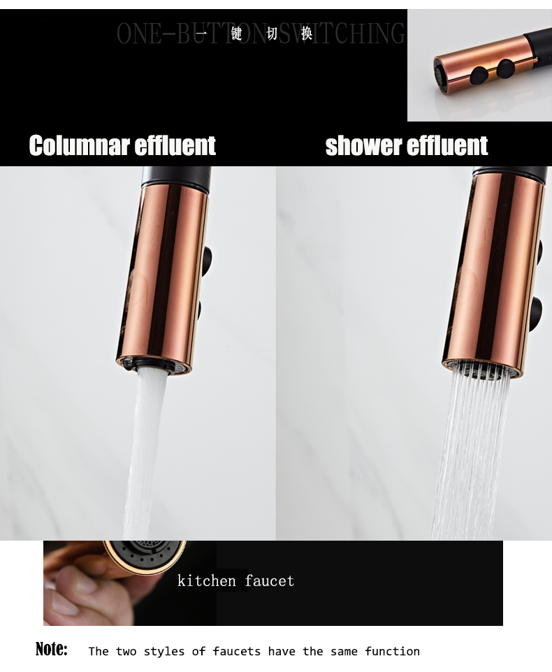 H873db3495bc044f18c92a4d8d41a2350m Newly Arrived Pull Out Kitchen Faucet Rose Gold and White Sink Mixer Tap 360 Degree Rotation Kitchen Mixer Taps Kitchen Tap