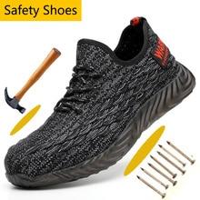Anti smashing 남자 보호 강철 발가락 모자 안전 신발 캐주얼 라이트 메쉬 편안한 Anti Puncture 작업 안전 신발
