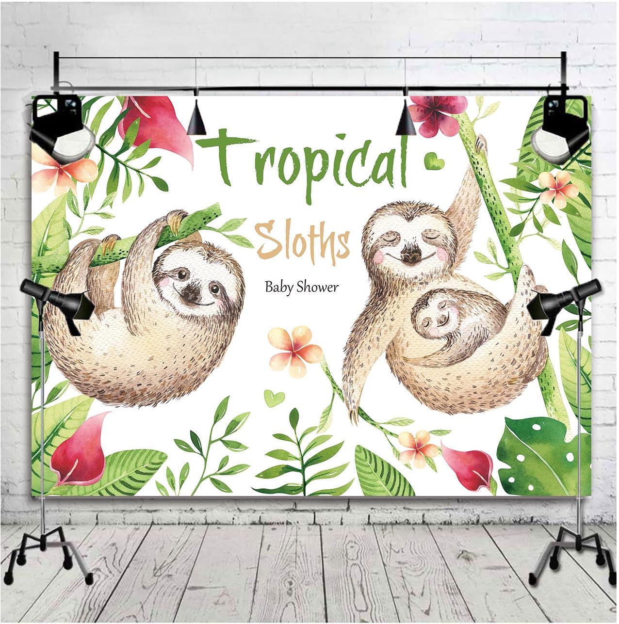 Tropical Sloth Family Birthday Invitation Theme Backdrop Sleepy Sloths Baby Shower Party Decoration Photography Background