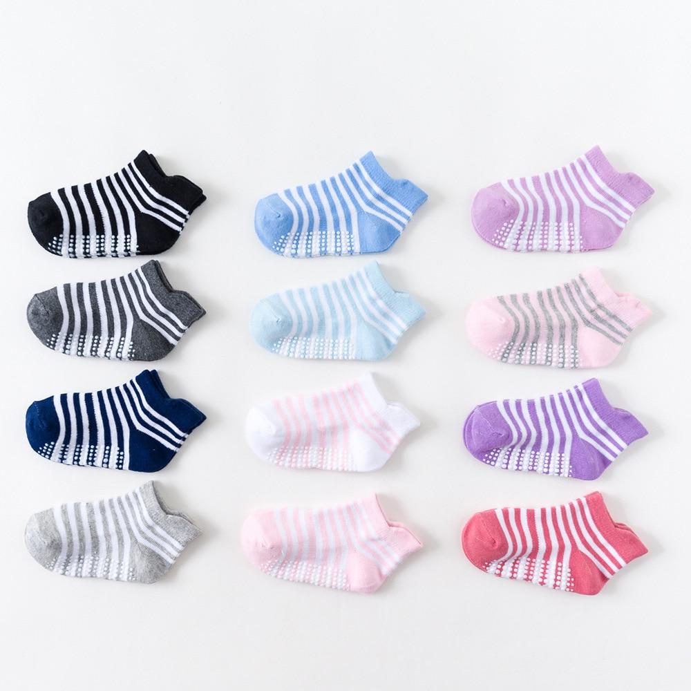 6 pairs/lot newborn socks baby socks Children cotton socks newborn baby boat socks non-slip floor socks