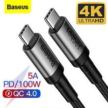 Baseus USB 3.1 유형 C MacBook Pro 100W PD 용 USB C 케이블 삼성 Note 10 S20 USBC USB C 충전기 용 빠른 충전 4.0