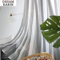 Cinza linho listra tule cortinas para sala de estar quarto janela sheer cortinas voile moderno tecidos