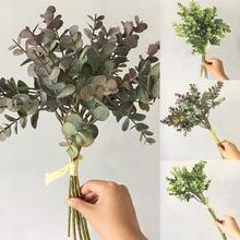 Hot 1 Bouquet Artificial Eucalyptus Leaf Fake Plant for DIY Wedding Party Home Decor Plants