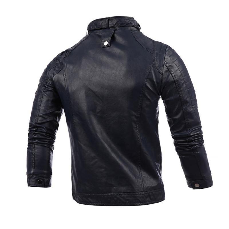 Manteau pour hommes printemps 2016 nouveau Style automne col montant Pu Locomotive en cuir manteau coréen-style mince coupe été mince veste tendance - 2