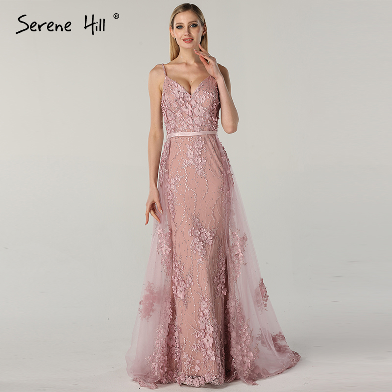 Pink Sling Lace Flower Pearl Evening Dresses 2019 Sexy Sleeveless Luxury Tulle Evening Gowns Real Photo LA60711