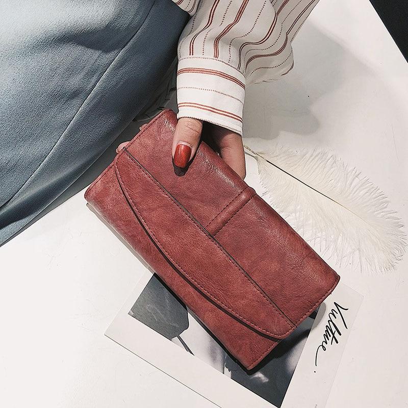 Купить с кэшбэком Trifold Wallet Women Long PU Leather Female Clutch Purse Hasp Female Phone Bag Girl Card Holder Elegant Pouch