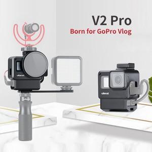 Image 2 - 울란지 V2 프로 스포츠 카메라 케이지 Vlog 케이스 보호 케이지 마이크 비디오 라이트 52mm 필터 마이크 어댑터 GoPro Hero 7 6 5
