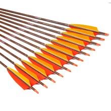 12 pièces Linkboy tir à l'arc bois peau carbone flèches Sp400 450 500 600 5 pouces turquie Fletching 75gr conseils traditionnel arc flèches chasse