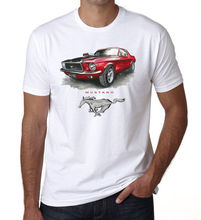 купить 2019 Fashion Hot sale Mustang Red Mens T shirt Italian car fans Top Racings Car White DT Tee shirt дешево