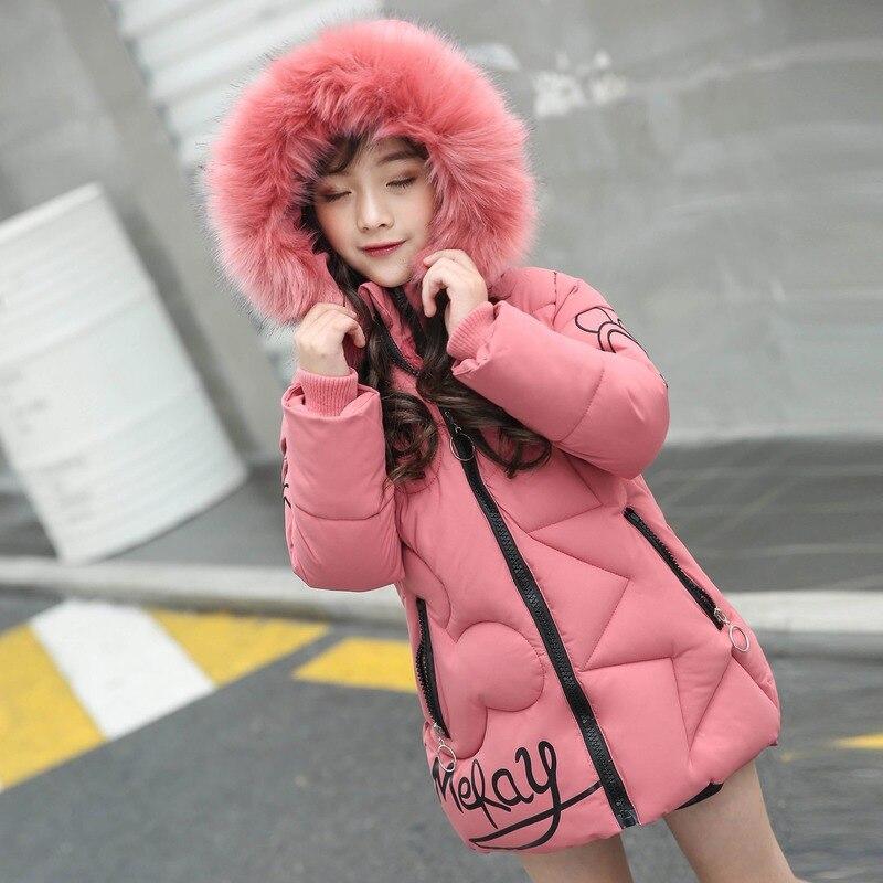 Зимняя детская теплая и ветронепроницаемая хлопковая куртка розовое плотное пальто с вышитыми буквами для девочек зимняя одежда из хлопка для девочек 20 градусов