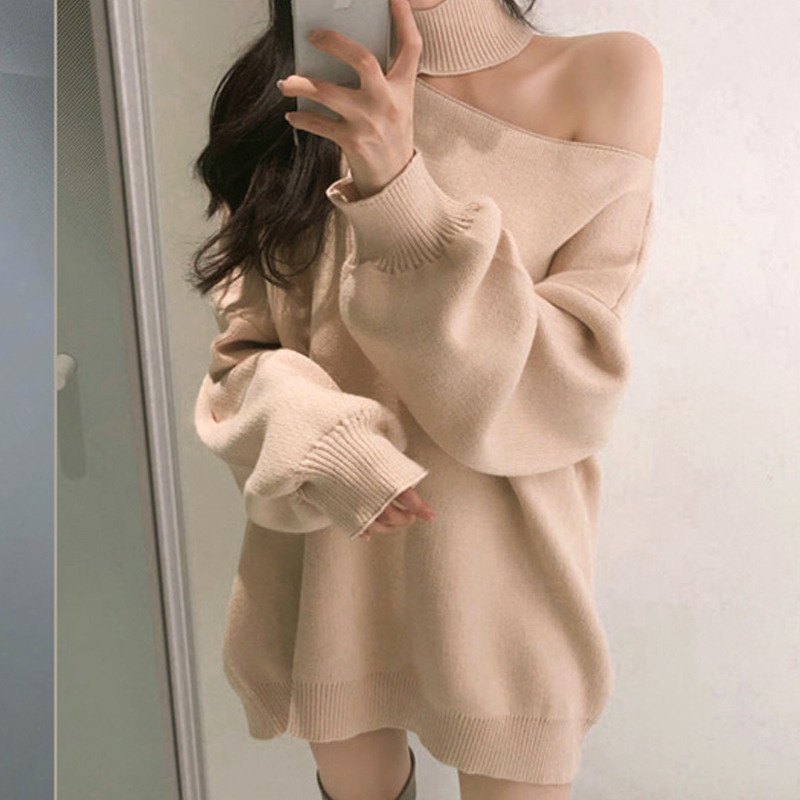 Female Winter Sweater Women Pullover Long Sleeve Girls Tops Loose Autumn New Elegant Knitted Outerwear Sweater Warm Plus Size
