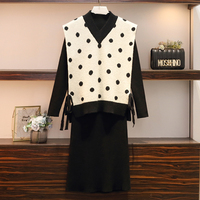 women outfits 2019 New black top and dress two piece set plus size sweater set lounge wear winter outfits