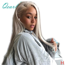 Transparent Platinum Blonde Silky Straight Full Lace Wigs Human Hair Wig 60# 130% 150% Pre Plucked High Ratio Remy Hair Qearl