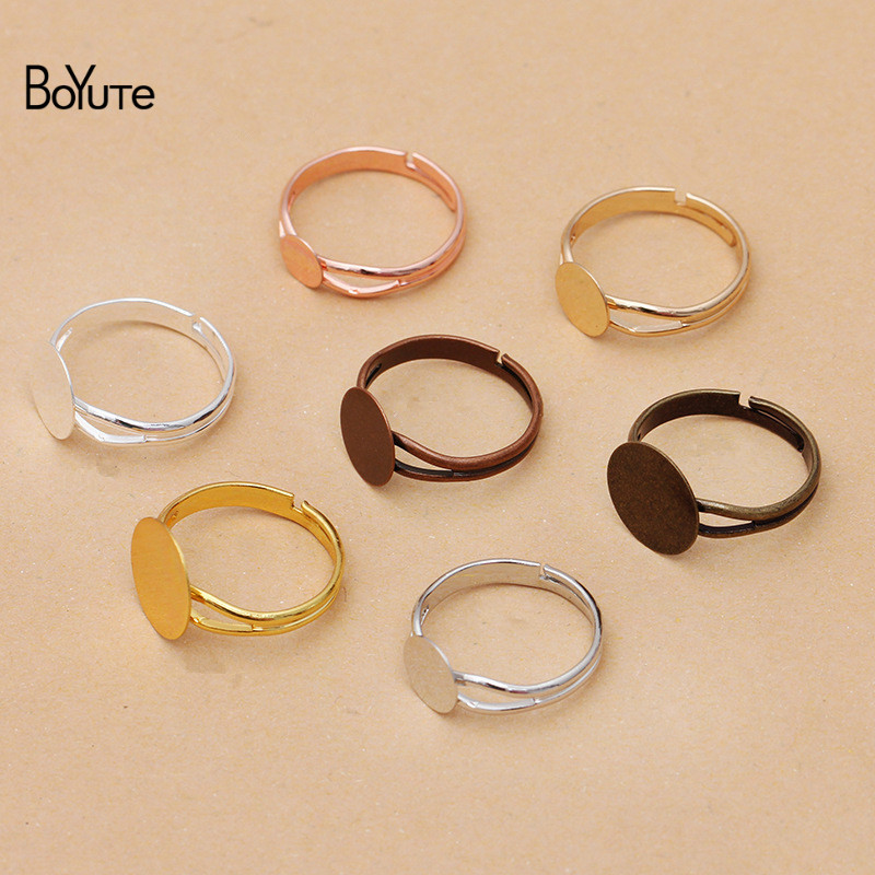 BoYuTe (40 шт./лот) металлическое регулируемое латунное кольцо с основанием 6 мм 8 мм 10 мм 12 мм плоский чистый блокнот Diy аксессуары для ювелирных и...