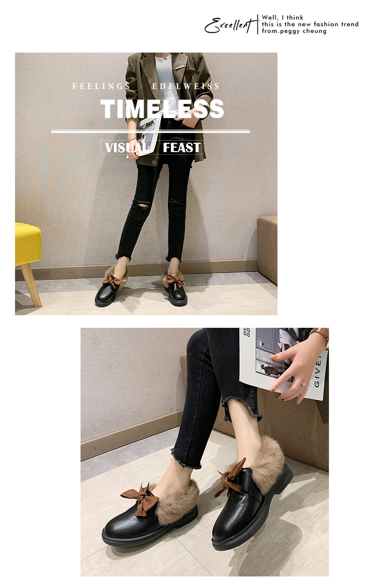 2019 winter long plush warm fur shoes bow tied decorate slip-on leather bullock shoes woman anti-skid chunky leisure espadrilles 48