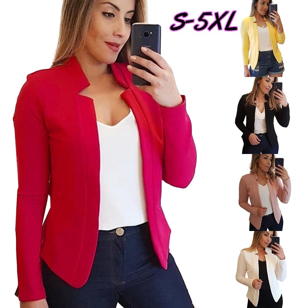 Wipalo Autumn Winter Plus Size Women Blazers Long Sleeve Irregular Collar Solid Blazer Open Front Slim Short Work Office Blazers