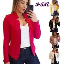 Wipalo Autumn Winter Plus Size Women Blazers Long Sleeve Irregular Collar Solid