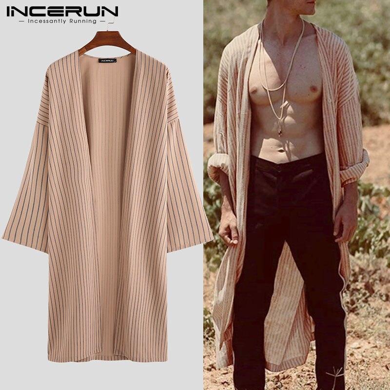 INCERUN Autumn Striped Men Trench Cardigan Long Sleeve Loose Cloak Streetwear Vintage Jackets Casual Men Longline Outerwear Coat