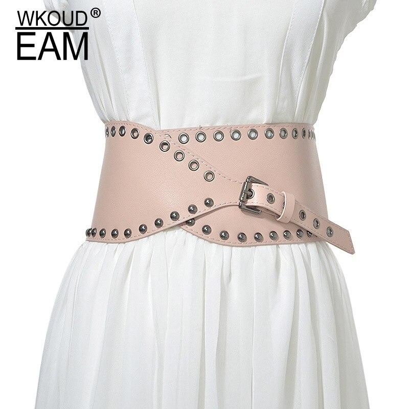 WKOUD EAM 2020 New Lady Extra Wild Leather Belt Wild Rivets Metal Buckle Waistband Female Dress High Quality Belt Tide PE191