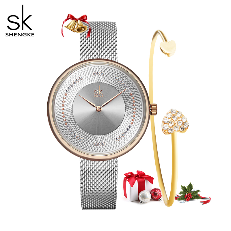 Shengke Creative Women Watches 3 Colors Stylish Japanese Quartz Ladies Watch Luxury Stainless Steel Clock Reloj Mujer Wife Gift
