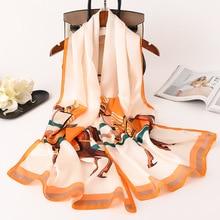 Luxury Women Scarf Brand Horse Chain Print Real Silk Scarves for Ladies Foulard Pashmina Shawls and Wraps Soft Bandana