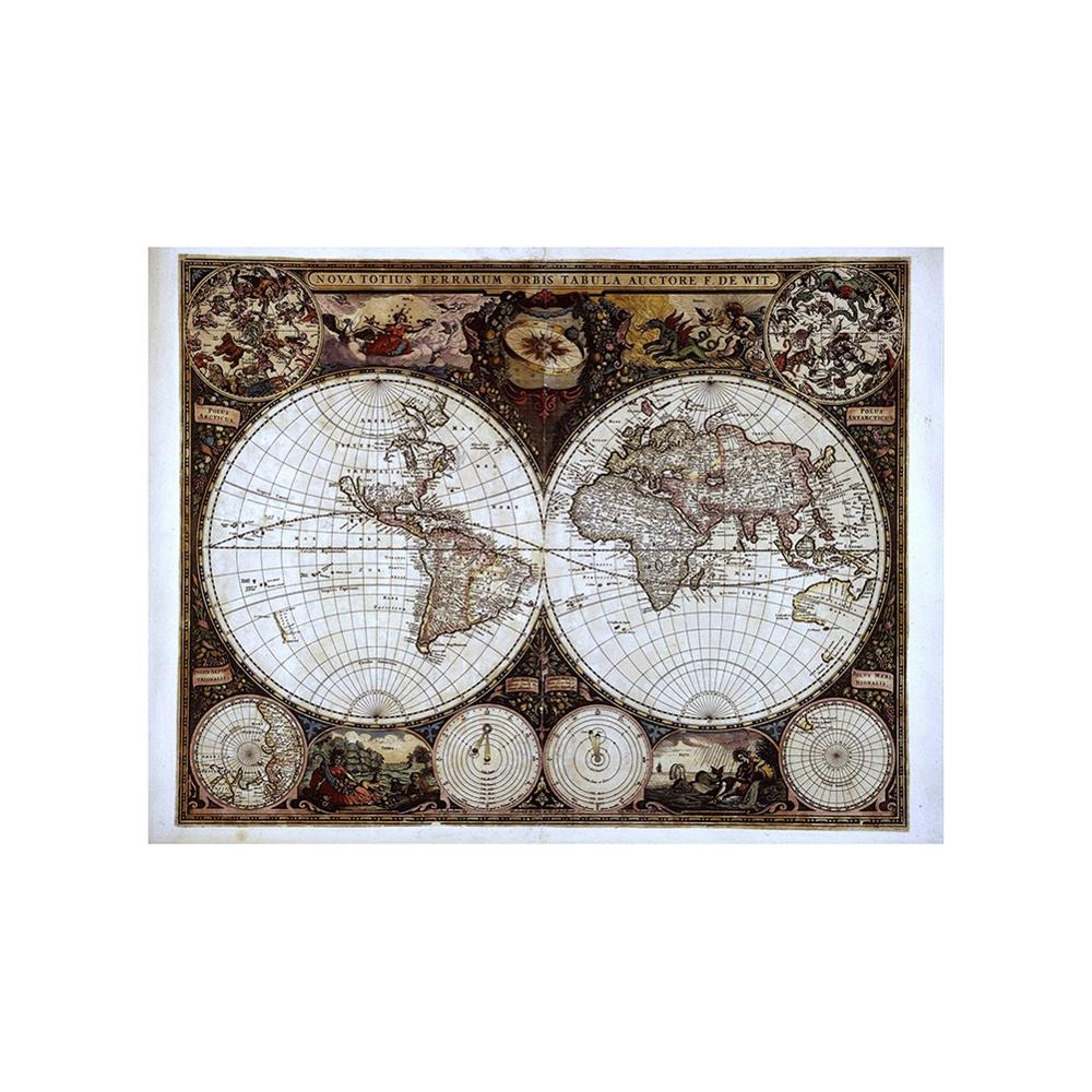 Nova Totius Terrarum Orbis Tabula Auctore F.DE WIT 150X100cm Non-woven Retro World Map For Research And Wall Decor
