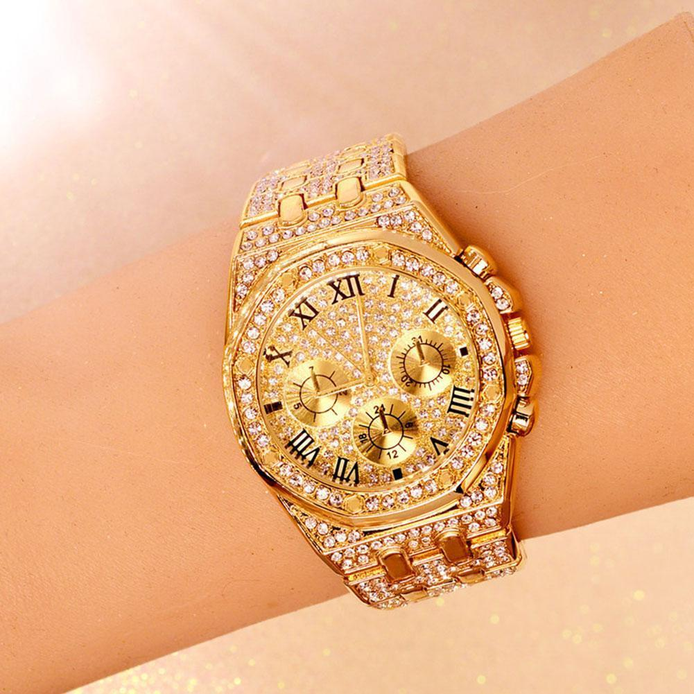 New Luxury Rhinestones Diamond Gold Stainless Steel Waterproof 3 Masculino Wristwatch Quartz Watches Relogio Color Men Wome M3D4