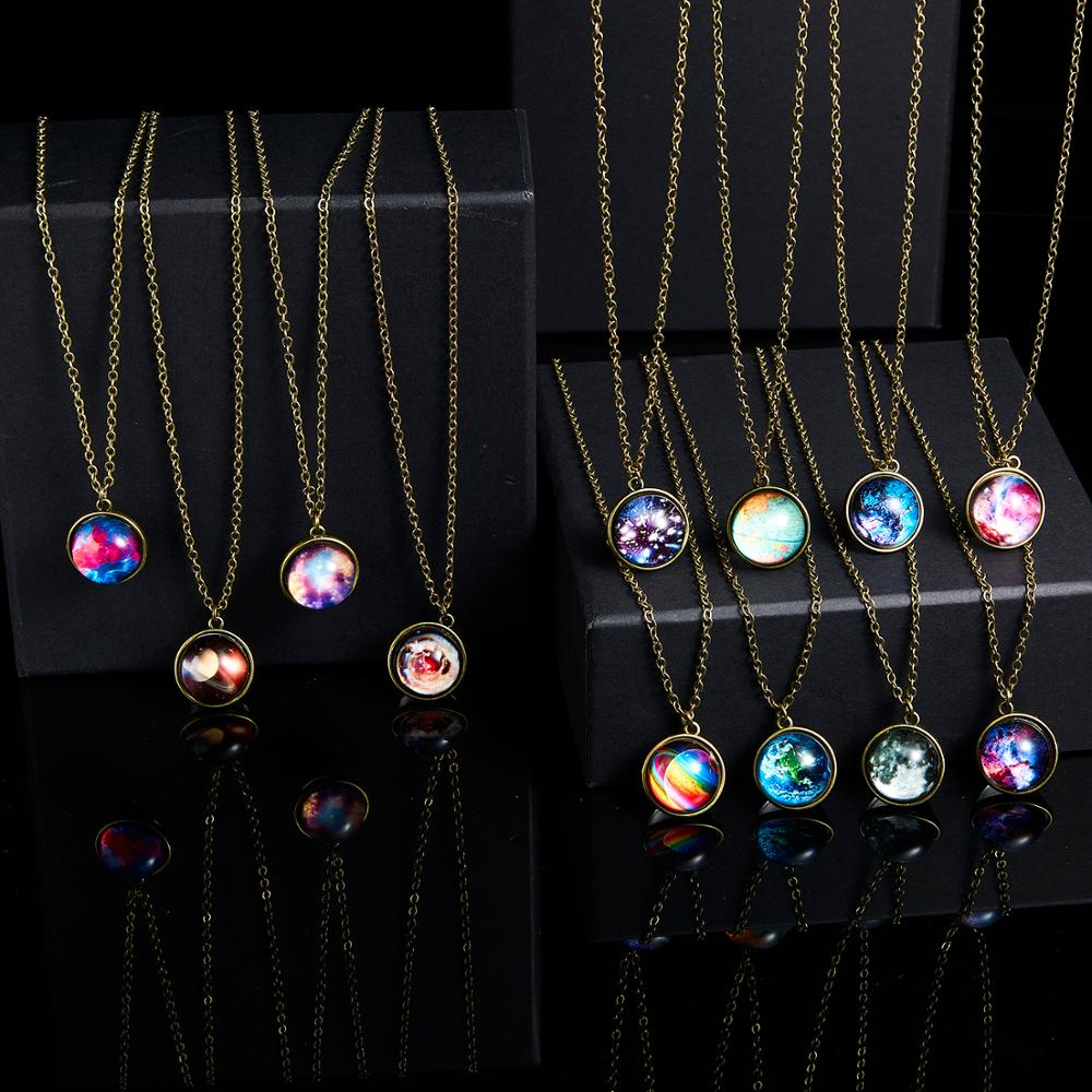 Rinhoo 1PC New Fashion Vintage Galaxy Nebula Round Shape Pendant Link Chain <font><b>Necklace</b></font> <font><b>Glow</b></font> <font><b>In</b></font> <font><b>the</b></font> <font><b>Dark</b></font> Fashion Jewelry Gift image