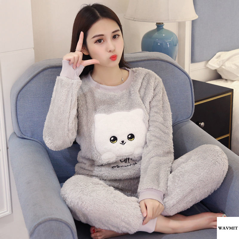 Autumn Winter Warm Flannel Long Sleeve Cartoon Sleepwear Thin Flannel Pajamas Set For Girl Women Pyjamas Sets Thick Coral Velvet