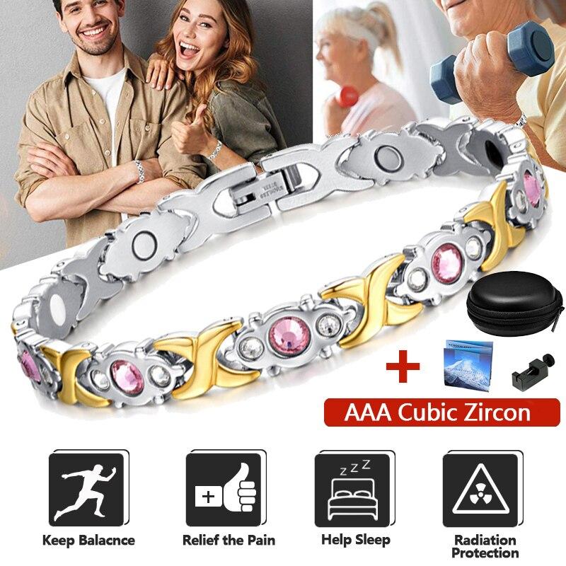 Cristal rose énergie santé Bracelet femmes chaîne poignet puissance Balance AAA cubique Zircon magnétique Bracelet accessoires de mode