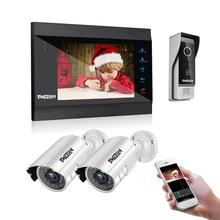 TMEZON 7 Inch Wireless WiFi Smart IP Video Door Phone Intercom System with 1200TVL Wired Doorbell +2x1200TVL Surveillance Camera цены онлайн