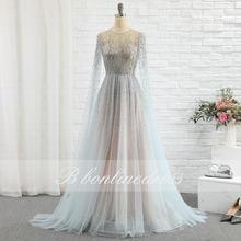 Элегантное Серебряное Вечернее платье 2020 Тюль А силуэт с круглым