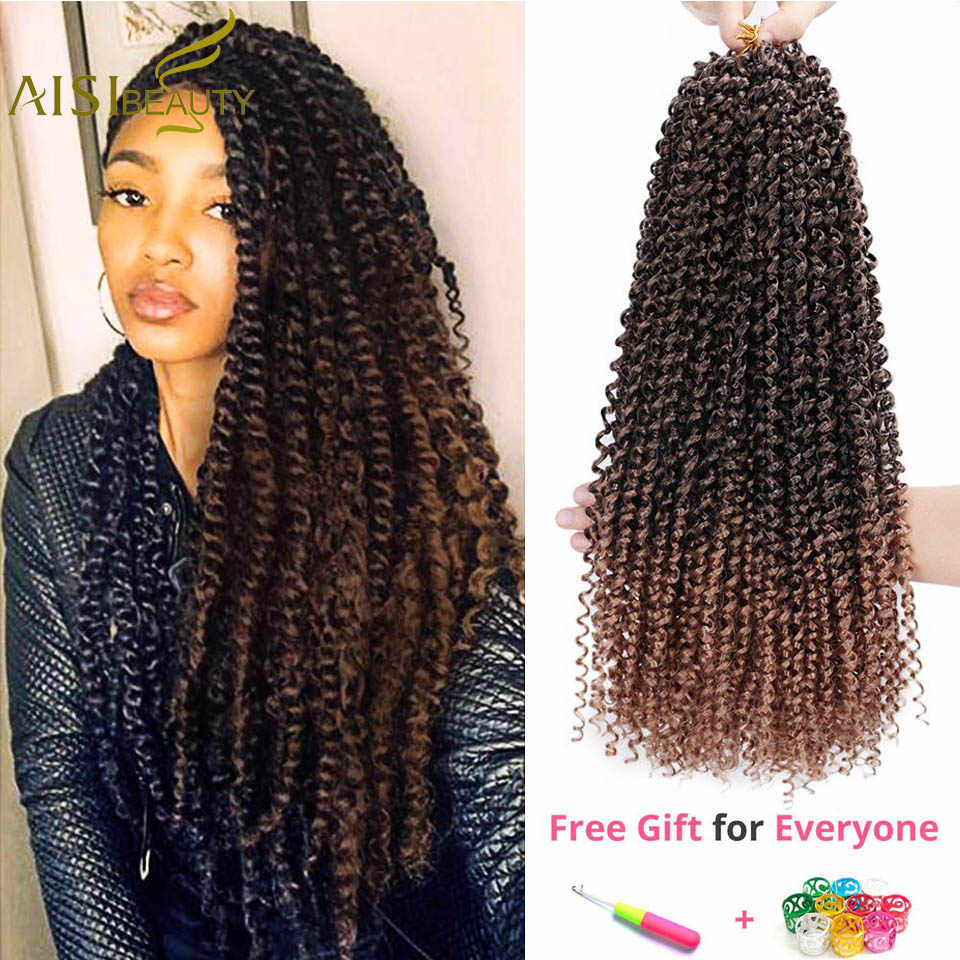 AISI BEAUTY 18inch Passion Twist Hair Ombre Blonde Bohemian Braid Crochet Braiding Synthetic Hair Extension Brown Black Color