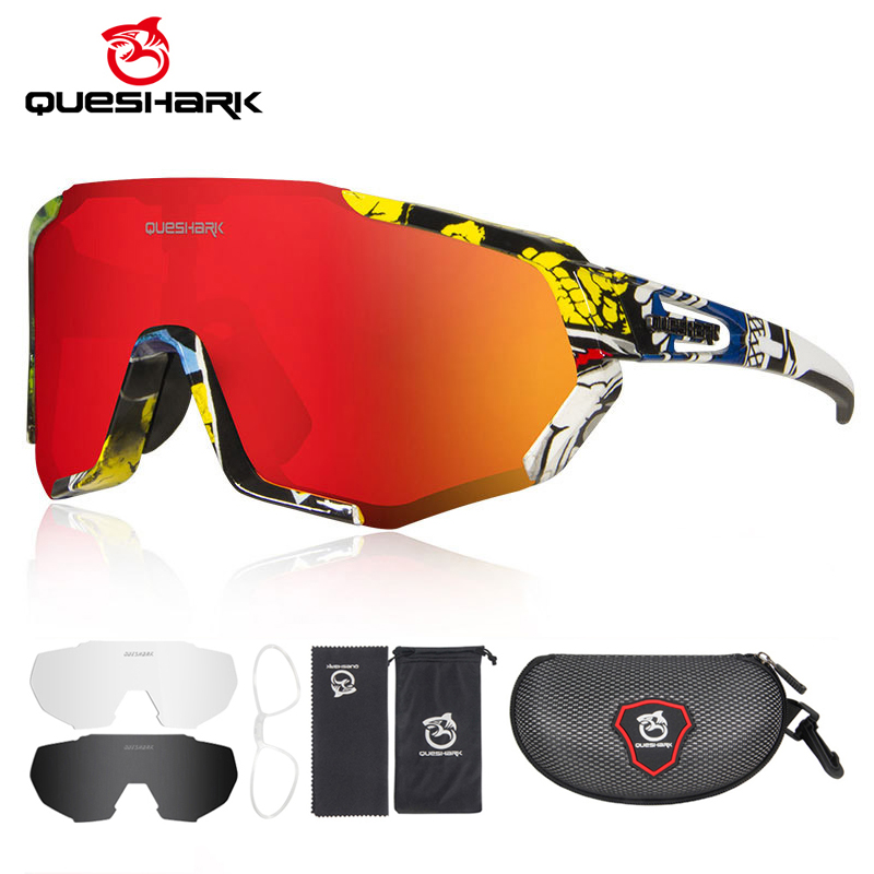 QUESHARK 2020 New Polarized Cycling Glasses For Man Women Bike Eyewear Cycling Sunglasses 3 Lens Mirrored UV400 Goggles MTB QE48 1