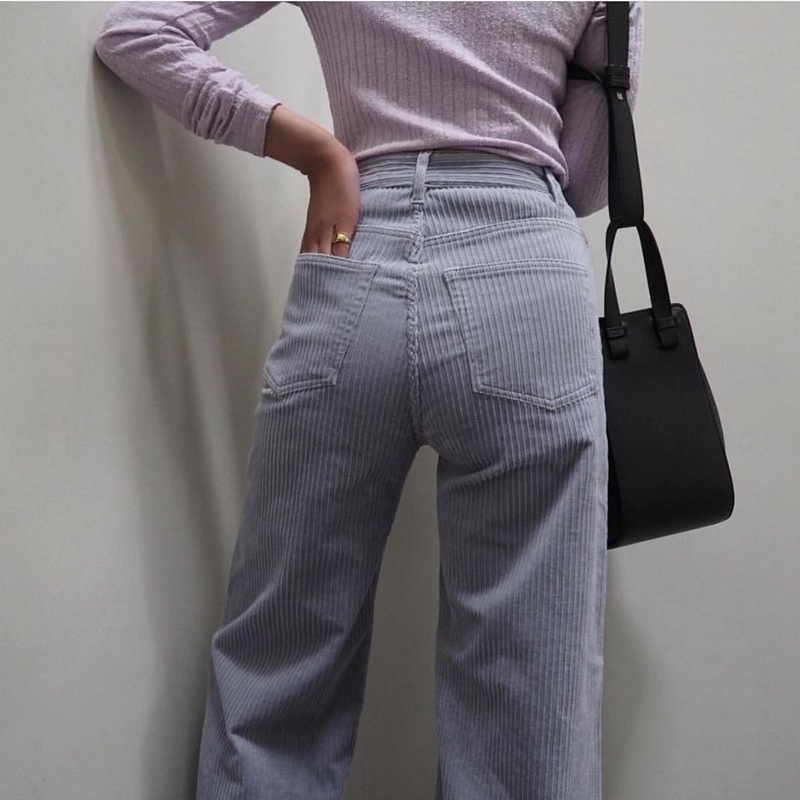 Vintage Corduroy Pants Harajuku Woman Trousers Elastics Korean Pants Causal Autumn Winter Straight Pants Violet Trousers