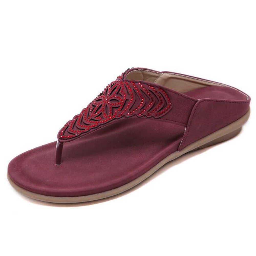 Yeni kadın sandalet Bohemian Rhinestones işlemeli plaj Flip flop yaz moda rahat düz ayakkabı kadın terlik hy349