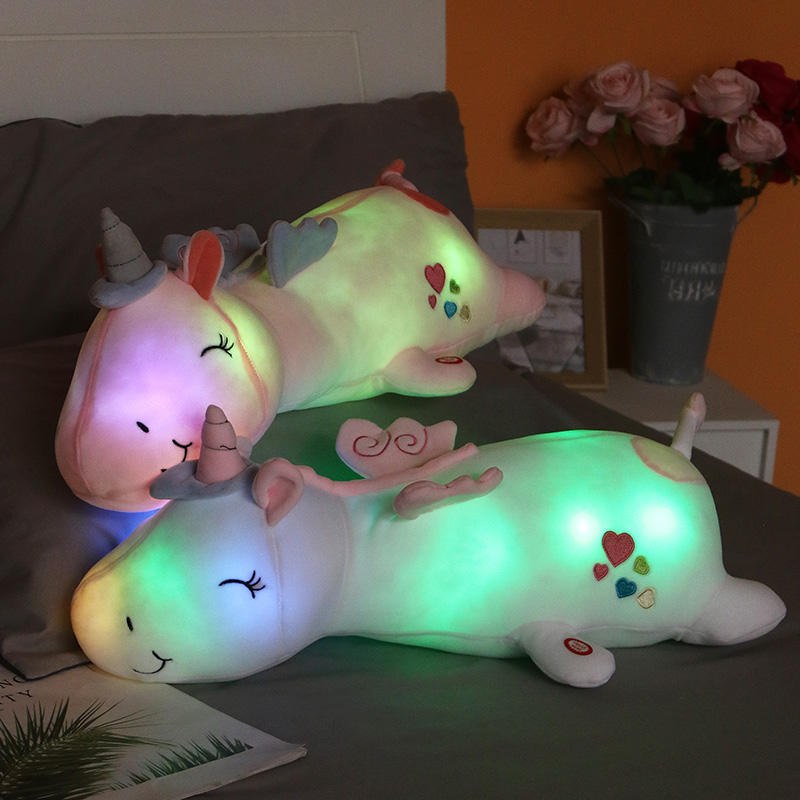 60cm Cute LED Unicorn Doll super soft Plush Toy Bed long Pillow baby Sleeping Doll Large Girl Doll high quality gift for kids