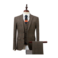 Custom made mens suits with vest and pants tailored 100% wool steel tweed suit 3 pieces costume homme groom suits for wedding