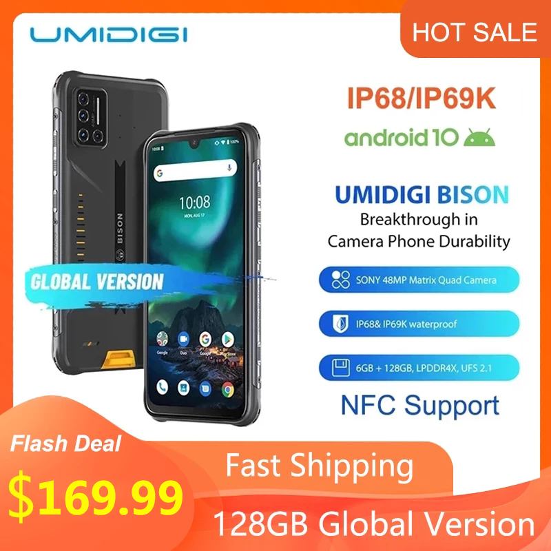 Umidigi teléfono inteligente BISON IP68/IP69K, teléfono resistente al agua, Quad Cámara matricial de 48MP, pantalla FHD de 6,3 pulgadas, 6GB RAM, 128GB rom, Android 10, soporta NFC Teléfonos móviles    -