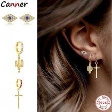 Canner-pendientes de Cruz de Cactus para mujer, de Plata de Ley 925, pendientes de diamante de circonita, joyería fina de cumpleaños