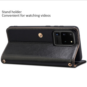 Image 5 - Metal Buckle Button Genuine Real cow Leather Flip Case For Samsung Galaxy S20 Ultra Book Wallet For S20 Plus