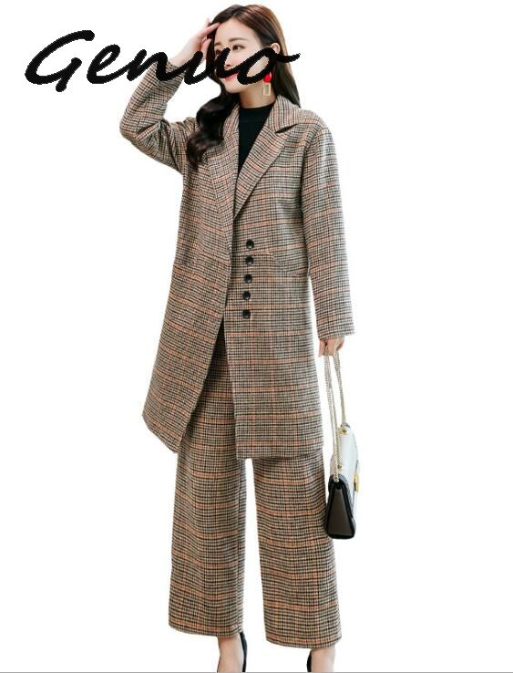 Genuo New 2019 Women Small Suit Suit Female  Autumn New Korean Fashion Temperament Slim Straight Pants Two Sets OL Career Suits