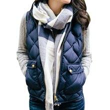 цена 2019 Womens Autumn Winter Vest Warm Lightweight Quilted Vest Zip Up Stand Collar Sleeveless Jackets Pockets Sleveless Coat онлайн в 2017 году